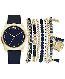 Jessica Carlyle Women's Navy Blue Strap Watch 36mm Gift Set