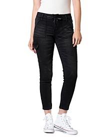Juniors' Tie-Waist Cargo Skinny Ankle Jeans