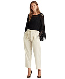 Cotton Twill Straight-Leg Pants