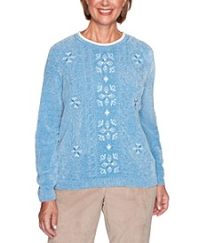 Petite Dover Cliffs Medallion-Center Embroidered Sweater