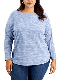 Plus Size Space-Dyed Microfleece Top, Created for Macy's