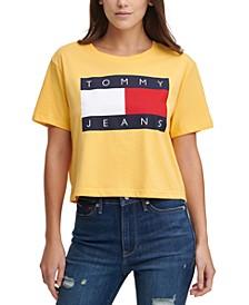 Cropped Cotton Flag Logo T-Shirt