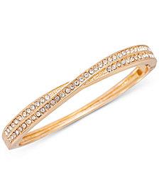 Charter Club Gold-Tone Pavé Crisscross Bangle Bracelet, Created for Macy's