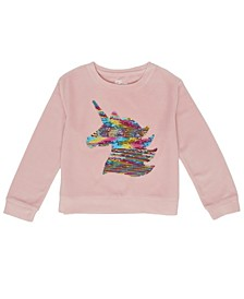 Little Girls Long Sleeve Flip Sequin Unicorn Velour Top