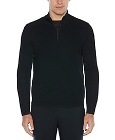 Men's Textured Merino Long Sleeve Quarter Zip Sweater