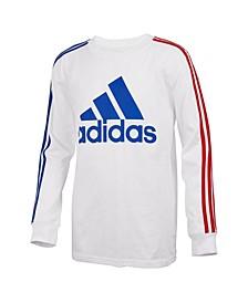 Little Boys Long Sleeve Badge of Sport Stripe Tee