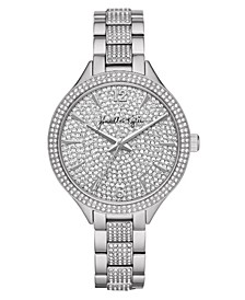 Women's Silver Tone Crystal Embellished Stainless Steel Strap Analog Watch 40mm