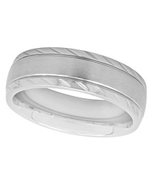 Men's Satin Notched Stainless Steel Wedding Band