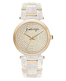 Women's Mother Of Pearl Link with Gold Tone Accents Stainless Steel Strap Analog Watch 40mm