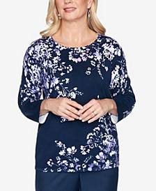 Women's Wisteria Lane Asymmetric Floral Print Sweater