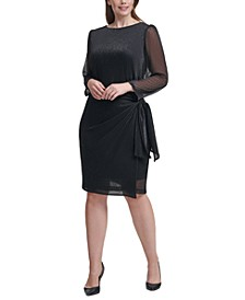 Plus Size Metallic Side-Tie Sheath Dress