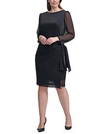 Tommy Hilfiger Plus Size Metallic Side-Tie Sheath Dress
