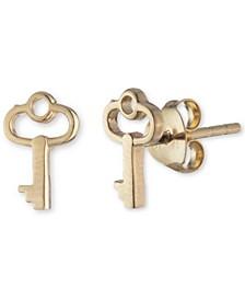 Key Stud Earrings in 18k Gold-Plated Sterling Silver