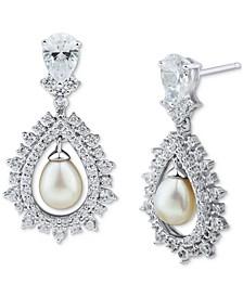 Cultured Freshwater Pearl (6-6-1/2mm) & Swarovski Zirconia Drop Earrings in Sterling Silver