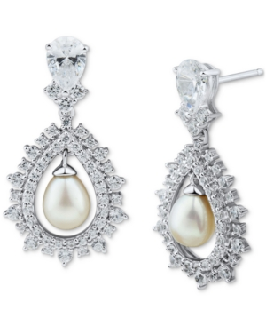 Cultured Freshwater Pearl (6-6-1/2mm) & Cubic Zirconia Drop Earrings in Sterling Silver