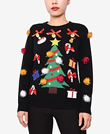 Juniors' Embellished Christmas Sweater