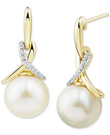 Cultured Ming Pearl (11mm) &Diamond (1/10 ct. t.w.) Drop Earrings in 14k Gold
