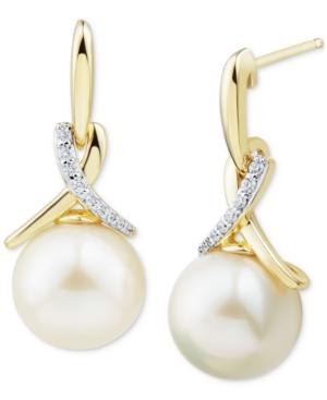 Cultured Ming Pearl (11mm) & Diamond (1/10 ct. t.w.) Drop Earrings in 14k Gold