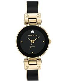 Women's Black & Gold-Tone Bangle Bracelet Watch 30mm