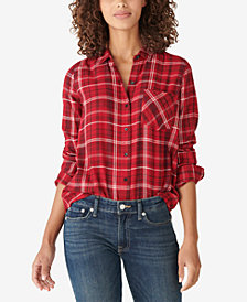 Lucky Brand Classic Plaid Lurex Shirt