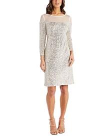 Petite Illusion-Trim Sequin Dress