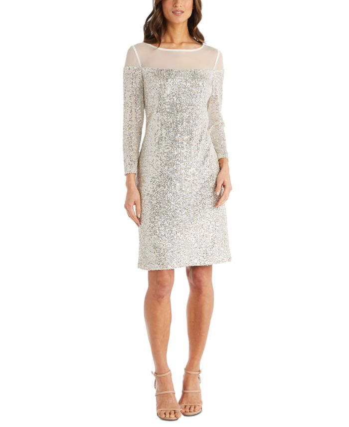 R & M Richards Petite Illusion-Trim Sequin Dress & Reviews - Dresses - Petites - Macy's