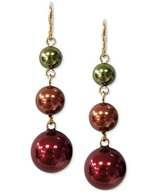 Gold-Tone Multicolor Imitation Pearl Triple Drop Earrings, Created for Macy's