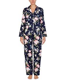 로렌 랄프로렌 잠옷 파자마 세트 Lauren Ralph Lauren Floral-Print Pajama Set,Navy Print