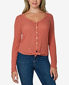 Juniors' Lace-Trimmed Tie-Front Top