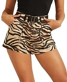 Lamona Belted Zebra-Print Utility Shorts