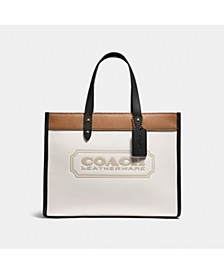 Colorblock Coach Badge Leather Field Tote 30