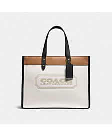 COACH Colorblock Coach Badge Leather Field Tote 30