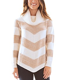 Juniors' Cowlneck Chevron-Striped Sweater