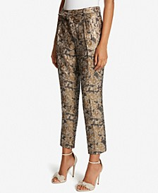 Metallic Jacquard Ankle Pants