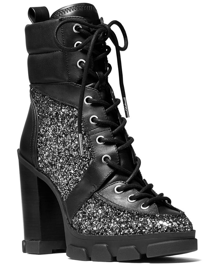 Michael Kors - Ridley Glitter Lace-Up Booties