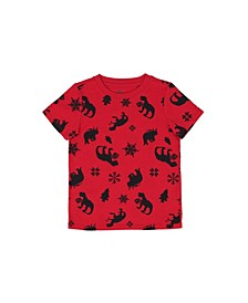Little Boys Short Sleeve All Over Holiday Dino Graphic Print T-shirt