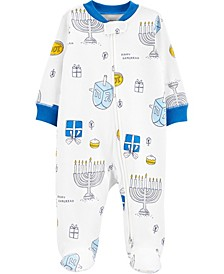 Baby Girls and Boys Hanukkah 2-Way Zip Cotton Sleep and Play