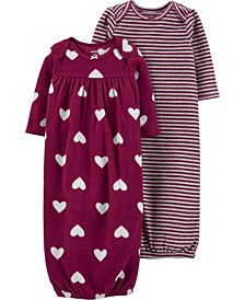 Carters Baby Girl 2-Pack Up + Down Gowns