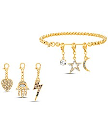 Gold-Tone Beaded Bracelet & Interchangeable Crystal Charm Set
