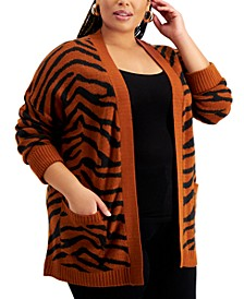 Trendy Plus Size Printed Cardigan