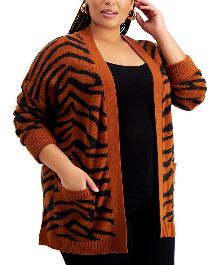 FULL CIRCLE TRENDS - Trendy Plus Size Printed Cardigan