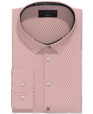 Alfani Men's Slim-Fit Performance Stretch Striped Cube Dress Shirt, Created for Macy's