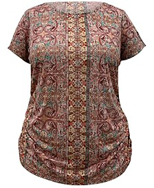 INC Plus Size Printed Ruched T-Shirt, Created for Macy's