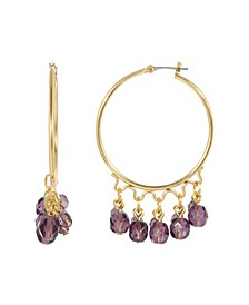 Women's Gold Tone Purple Beaded Drop Hoop Earring
