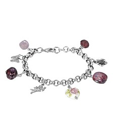 Women's Silver Tone Purple Bead Angel Flower Heart Charm Chain Bracelet
