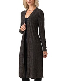 Black Label Women's Plus Size Metallic Stripe Long Sleeve Duster