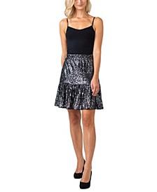 Black Label Women's Plus Size Sequined Ruffle Hem Skirt