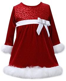 Baby Girls' Sequin Bodice Santa Dress