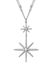 "Diamond Double Starburst 19"" Pendant Necklace (2 ct. t.w.) in 14k White Gold"