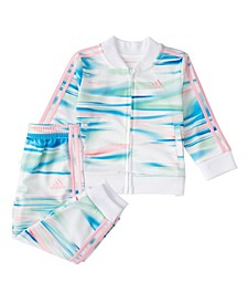 Little Girls Zip Front Printed 2-Piece Jacket and Tricot Jogger Set